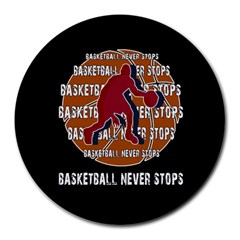 Basketball Never Stops Round Mousepads by Valentinaart