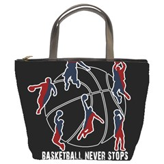 Basketball Never Stops Bucket Bags by Valentinaart
