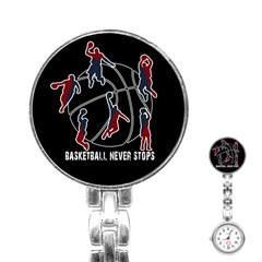 Basketball Never Stops Stainless Steel Nurses Watch by Valentinaart