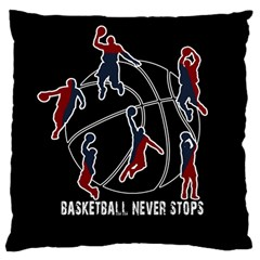 Basketball Never Stops Large Flano Cushion Case (two Sides) by Valentinaart