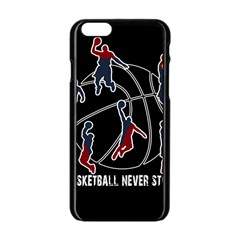Basketball Never Stops Apple Iphone 6/6s Black Enamel Case by Valentinaart