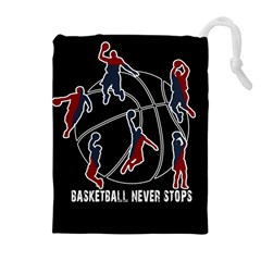 Basketball Never Stops Drawstring Pouches (extra Large) by Valentinaart