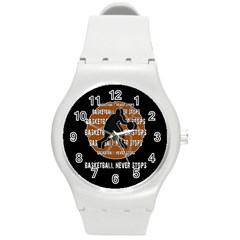 Basketball Never Stops Round Plastic Sport Watch (m) by Valentinaart