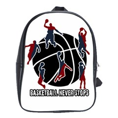 Basketball Never Stops School Bags(large)  by Valentinaart