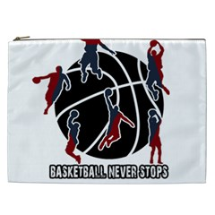 Basketball Never Stops Cosmetic Bag (xxl)  by Valentinaart