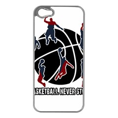 Basketball Never Stops Apple Iphone 5 Case (silver) by Valentinaart