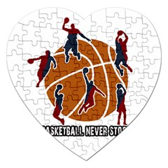 Basketball Never Stops Jigsaw Puzzle (heart) by Valentinaart