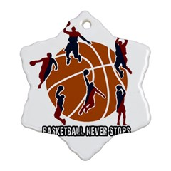 Basketball Never Stops Snowflake Ornament (two Sides) by Valentinaart