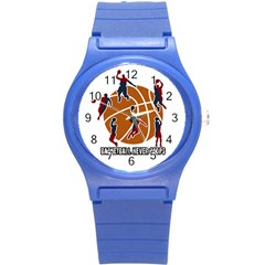 Basketball Never Stops Round Plastic Sport Watch (s) by Valentinaart