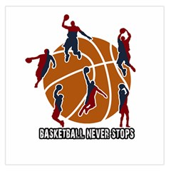 Basketball Never Stops Large Satin Scarf (square) by Valentinaart
