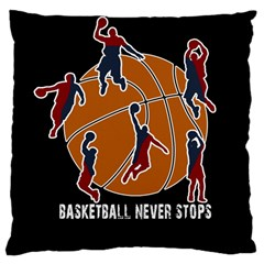 Basketball Never Stops Large Cushion Case (one Side) by Valentinaart