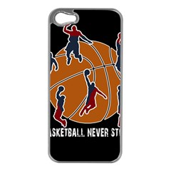 Basketball Never Stops Apple Iphone 5 Case (silver)