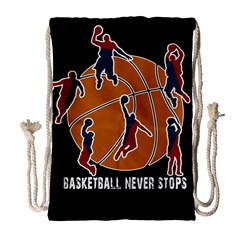 Basketball Never Stops Drawstring Bag (large) by Valentinaart