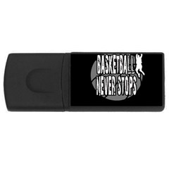 Basketball Never Stops Usb Flash Drive Rectangular (4 Gb) by Valentinaart