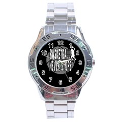 Basketball Never Stops Stainless Steel Analogue Watch by Valentinaart