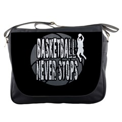 Basketball Never Stops Messenger Bags by Valentinaart