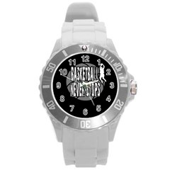 Basketball Never Stops Round Plastic Sport Watch (l) by Valentinaart