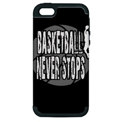 Basketball Never Stops Apple Iphone 5 Hardshell Case (pc+silicone) by Valentinaart