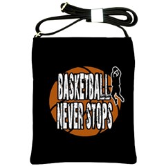 Basketball Never Stops Shoulder Sling Bags by Valentinaart