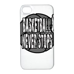 Basketball Never Stops Apple Iphone 4/4s Hardshell Case With Stand by Valentinaart
