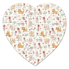 Kittens And Birds And Floral  Patterns Jigsaw Puzzle (heart) by TastefulDesigns