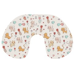 Kittens And Birds And Floral  Patterns Travel Neck Pillows by TastefulDesigns