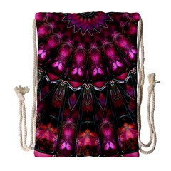 Pink Vortex Half Kaleidoscope  Drawstring Bag (large) by KirstenStar