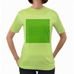 Decorative Lines Pattern Women s Green T Shirt
