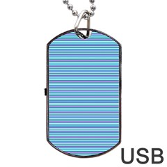 Decorative Lines Pattern Dog Tag Usb Flash (one Side) by Valentinaart
