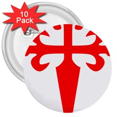 Cross Of Saint James 3  Buttons (10 Pack)  by abbeyz71