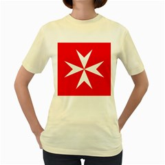 Cross Of The Order Of St  John  Women s Yellow T Shirt by abbeyz71