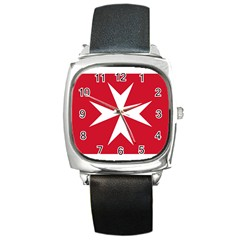 Civil Ensign Of Malta Square Metal Watch by abbeyz71