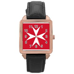 Civil Ensign Of Malta Rose Gold Leather Watch