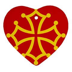 Flag Of Occitania Heart Ornament (two Sides) by abbeyz71