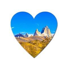 Snowy Andes Mountains, El Chalten, Argentina Heart Magnet by dflcprints