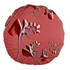 Amazing Floral Fractal B Large 18  Premium Flano Round Cushions by Fractalworld