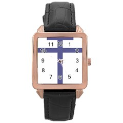 Patriarchal Cross  Rose Gold Leather Watch  by abbeyz71