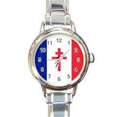 Flag Of Free France (1940 1944) Round Italian Charm Watch by abbeyz71
