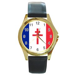 Flag Of Free France (1940 1944) Round Gold Metal Watch by abbeyz71