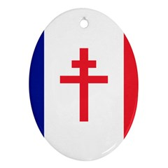 Flag Of Free France (1940-1944) Oval Ornament (two Sides) by abbeyz71