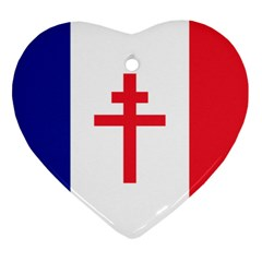 Flag Of Free France (1940 1944) Heart Ornament (two Sides) by abbeyz71