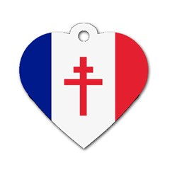 Flag Of Free France (1940 1944) Dog Tag Heart (one Side) by abbeyz71