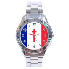 Flag Of Free France (1940 1944) Stainless Steel Analogue Watch by abbeyz71