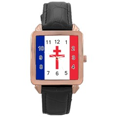 Flag Of Free France (1940-1944) Rose Gold Leather Watch  by abbeyz71