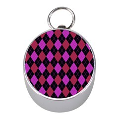 Plaid Pattern Mini Silver Compasses