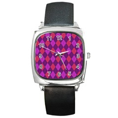 Plaid Pattern Square Metal Watch by Valentinaart