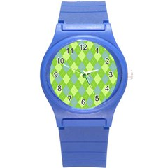 Plaid Pattern Round Plastic Sport Watch (s) by Valentinaart