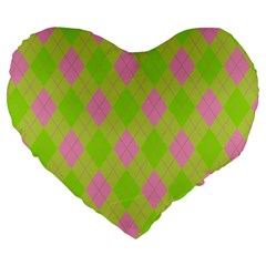 Plaid Pattern Large 19  Premium Flano Heart Shape Cushions by Valentinaart