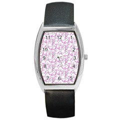 Plaid Pattern Barrel Style Metal Watch by Valentinaart