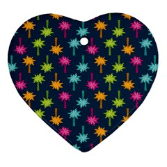 Funny Palm Tree Pattern Heart Ornament (two Sides) by tarastyle